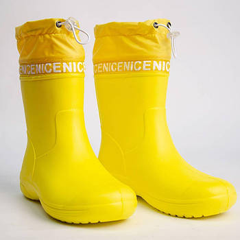 Жёлтые сапоги из пены с утяжкой Резиновые сапоги