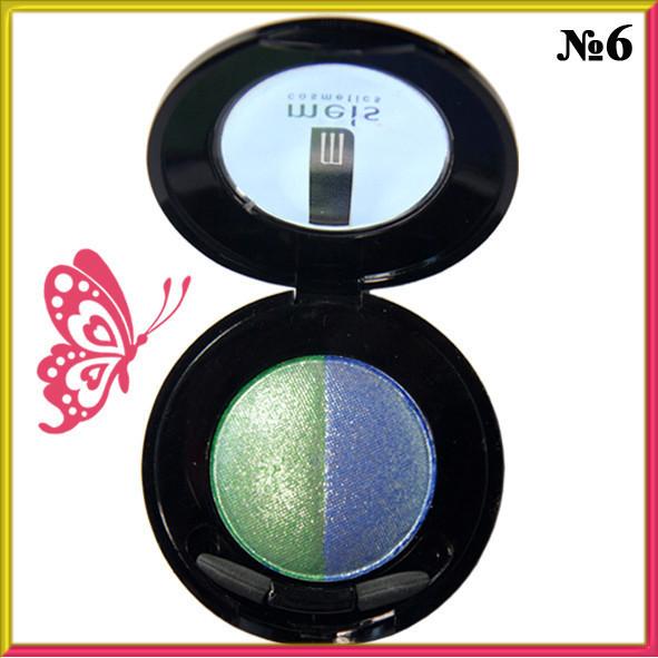Тени для Век Meis MS 0102 Двухцветные Компактные с Аппликатором Тон 06 Цвета Зеленый, Синий Макияж Глаз