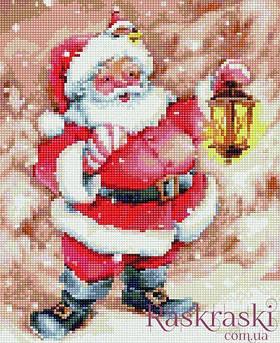 Алмазная вышивка Весёлый Дед Мороз 30 х 40 (EJ714, На подрамнике) Rainbow Art