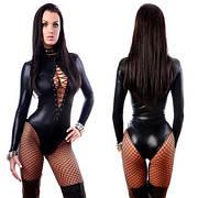 Эротическое боди из эко кожи. Сексуальное женское белье черного цвета. Белье для особых случаев