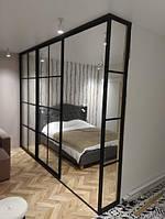Угловая перегородка в спальню. Черный матовый профиль с прозрачным стеклом