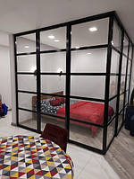 Угловая перегородка в спальню в стиле Лофт