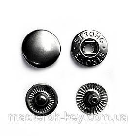 Кнопка металлическая Альфа 12,5мм. Турция цвет тем.никель (50 шт в упаковке)