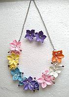 Колье с серьги с разноцветными лилиями, фото 1