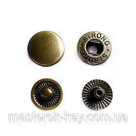 Кнопка металлическая Альфа 12,5мм. Турция цвет антик (50 шт в упаковке)