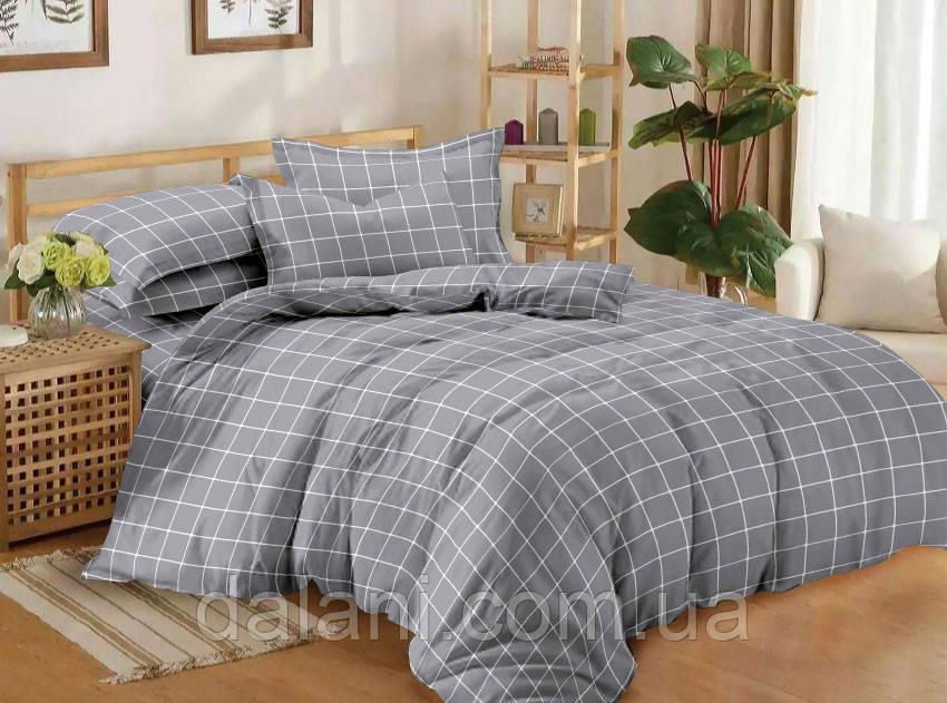 Семейный серый комплект постельного белья из сатина (с двумя пододеяльниками)