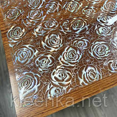 Прозрачное Мягкое стекло с лазерным рисунком Серебряных роз, толщина 800 мкм, фото 3