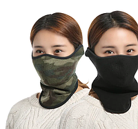 Зимняя полу маска для защиты лица теплый флис черная или хаки, фото 1