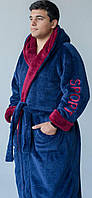 Мужской махровый халат на запах с капюшоном