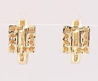 """Серьги M&L желтый оттенок колечки """"Квадраты с декоративным узором"""", фото 1"""