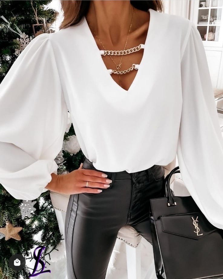 Блузка женская белая, чёрная, 42-46, 48-52