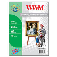 Холст WWM натуральный хлопковый (льняной)  260г/м кв, A4, 10л (CC260A4.10)