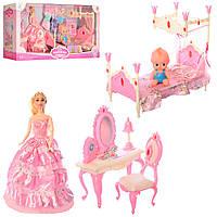Игровой набор мебели для кукол высотой 29 см Спальня в королевском стиле 889-7, с кроватью, трюмо и стульчиком