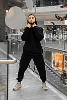 Спортивный костюм мужской ОВЕРСАЙЗ черный | Зимний костюм на флисе Худи + Штаны теплый ЛЮКС качества