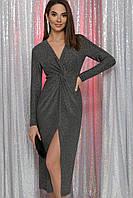 Вечернее серебристое платье миди из люрекса, фото 1
