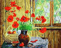 Картина рисование по номерам Rainbow Art Букет маков на террасе BK-GX34636 40х50 см Цветы, букеты, натюрморты