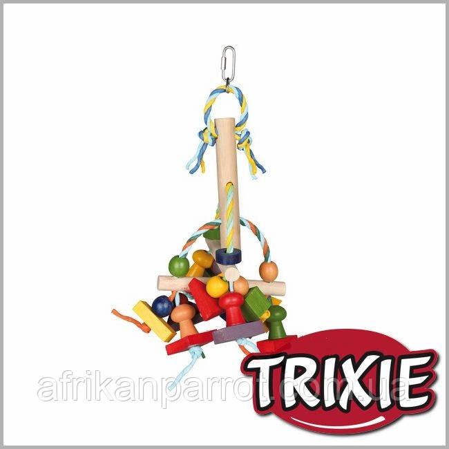 Дерев'яна іграшка Trixie для птахів з паперовими стрічками.
