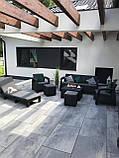 Комплект садовой мебели Allibert by Keter Corfu Set Box Max with Puff Graphite ( графит ) искусственный ротанг, фото 7