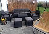 Комплект садовой мебели Allibert by Keter Corfu Set Box Max with Puff Graphite ( графит ) искусственный ротанг, фото 10