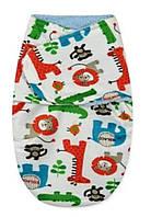 Флисовая пеленка - кокон на липучках Маленькие зверушки Berni Kids (0-3 мес)