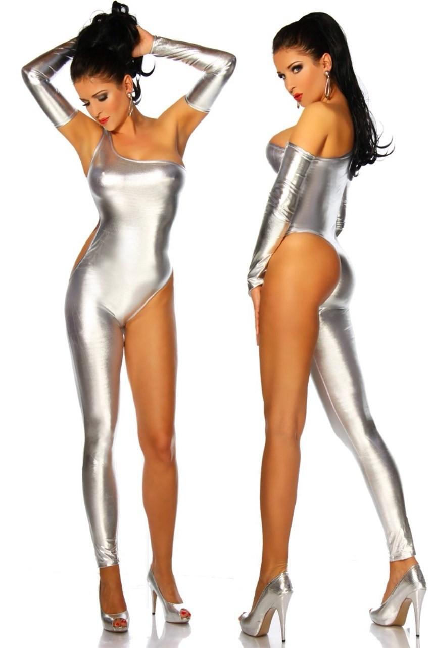 Сексуальный женский комбинезон из эко кожи. Одежда для танцовщицы. Серебристый костюм для особых случаев