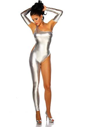 Сексуальный женский комбинезон из эко кожи. Одежда для танцовщицы. Серебристый костюм для особых случаев, фото 2