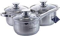 Набір посуду нержавіючий Astor - 2,9 x 5,1 + 2,1 л (3 шт.)