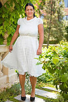 """Стильное платье жаккард """"Elizabeth"""" с карманами и со съемным поясом (большие размеры)"""