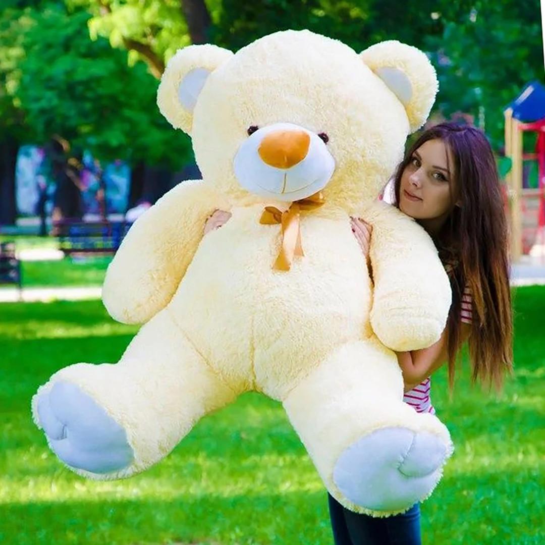 Плюшевые медведи: Плюшевый медвежонок Майки 1,4 метра ( 140 см), Персиковый