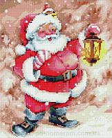 """Алмазная вышивка (мозаика) на холсте с подрамником,  """"Веселый Дед Мороз"""" 30*40 см, Rainbow Art"""