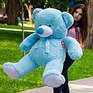 Плюшевые медведи: Плюшевый медвежонок Майки 1,6 метра ( 160 см), Голубой, фото 3