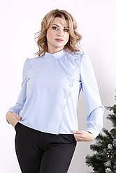 Блузка шифон для повних блакитна красива