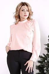 Ошатна блузка великих розмірів рожева з креп-шифону