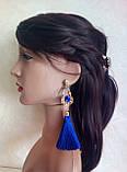 Серьги кисточки, удлиненные шелковые кисти, синие,  высота 13 см., фото 2