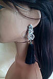Серьги кисточки, удлиненные шелковые кисти, черные,  высота 13 см., фото 3