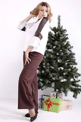 Стильный костюм большого размера с блузой и широкими брюками, фото 2