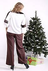 Стильный костюм большого размера с блузой и широкими брюками, фото 3