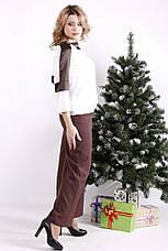 Стильний костюм великого розміру з блузою і широкими брюками, фото 2