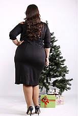Трикотажное платье для полных черное стильное, фото 2
