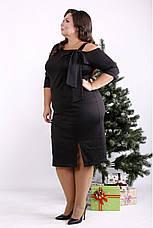 Трикотажное платье для полных черное стильное, фото 3