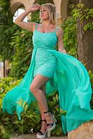 """Облегающее коктейльное мини-платье """"Olly"""" с шифоновым шлейфом (7 цветов)"""