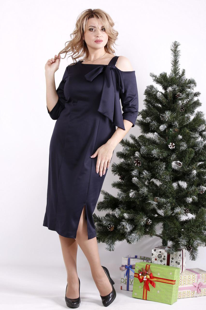 Платье трикотажное для полных синее элегантное