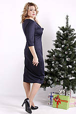 Сукня трикотажна для повних синя елегантна, фото 2