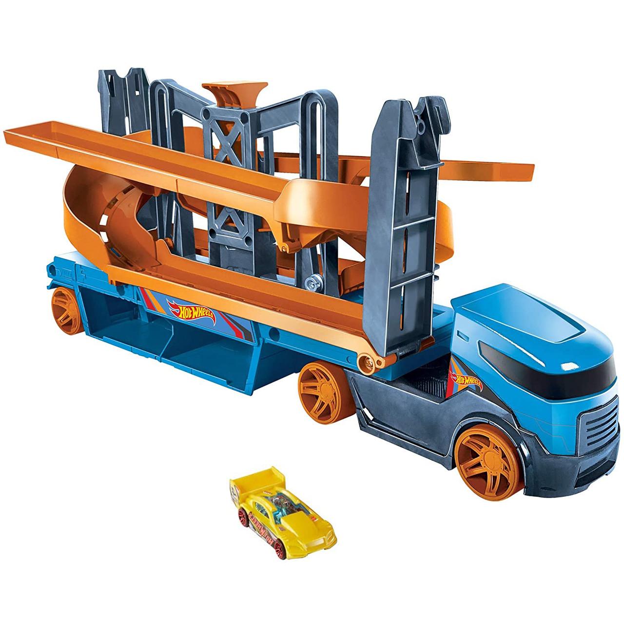 Хот Вилс Мега грузовик Автовоз транспортер на 20 машинок Крутой спуск Hot Wheels Mega Hauler