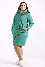 Теплое платье больших размеров спортивное с капюшоном зеленое, фото 2