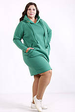 Теплое платье больших размеров спортивное с капюшоном зеленое, фото 3