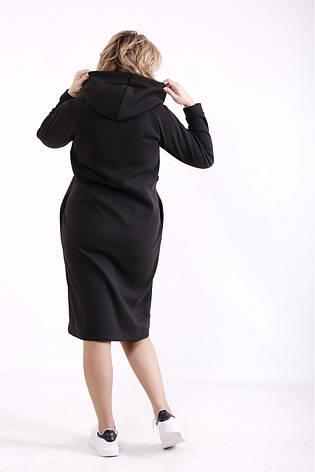 Платье спортивного стиля для полных черное с капюшоном, фото 2