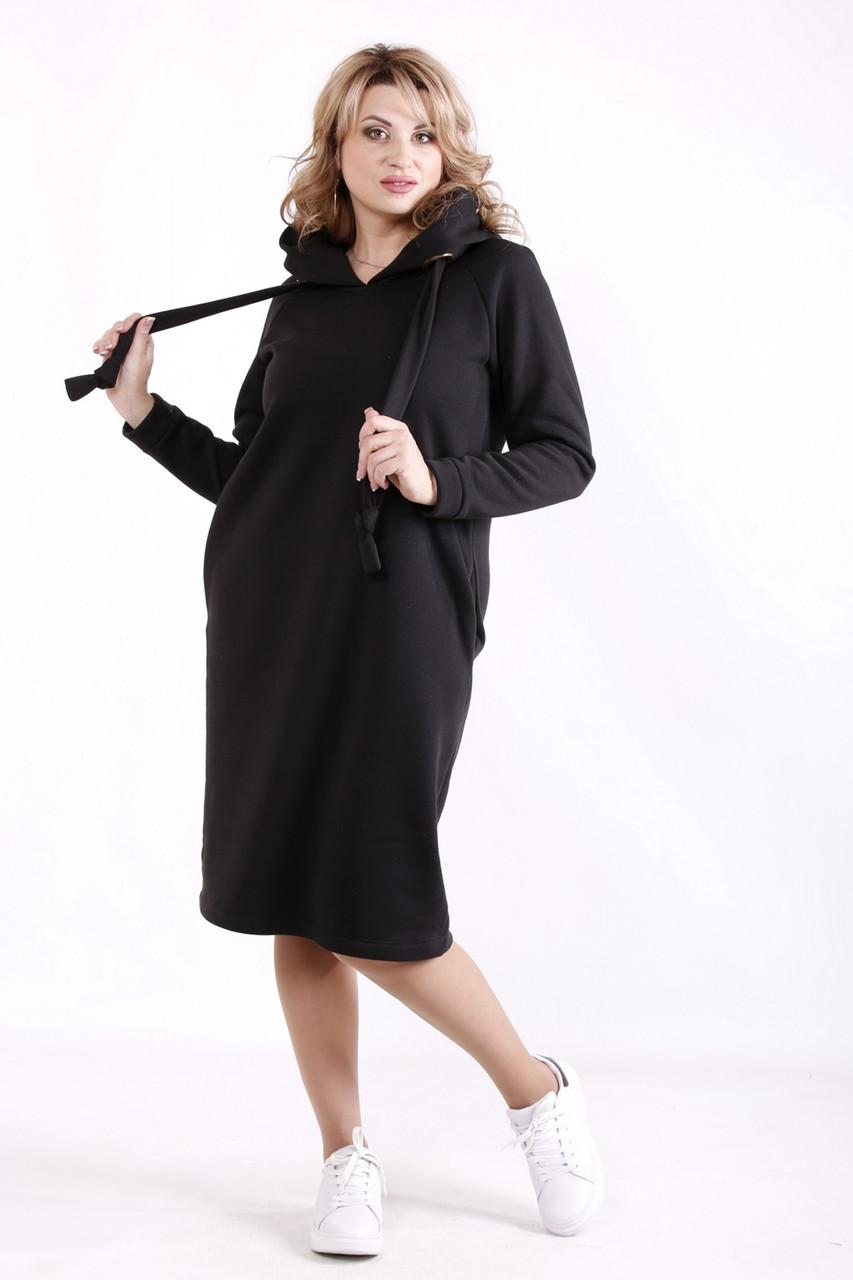 Платье спортивного стиля для полных черное с капюшоном