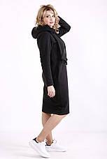 Платье спортивного стиля для полных черное с капюшоном, фото 3