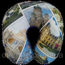Подушка для путешествий под шею антистресс Турист, полистерольные шарики 35*35см / tp - 181102-5